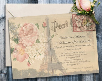 Personalised Wedding Invitations -  Large Paris Wedding Invites - Large Vintage Victorian Shabby Chic Custom Post Cards & Envelopes