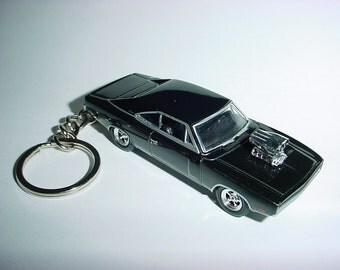 3D BLOWN 1970 Dodge Charger R/T custom keychain by Brian Thornton keyring key chain diecast metal body finished in black color