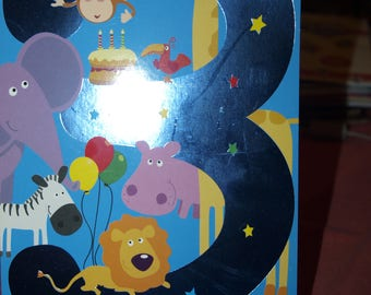 Age 3 Birthday Card with Animal