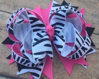 Zebra Hairbow - Zebra Hair Bow - Zebra Bow - Zebra Print Bow - Zebra Hair Clip - Zebra - Zebra and Pink - Animal Print Bow - Black and pink