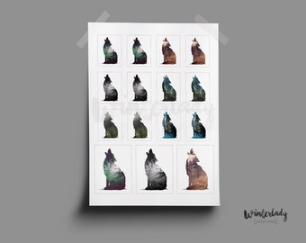 15 Wolf stickers  | Printable | Instant Download
