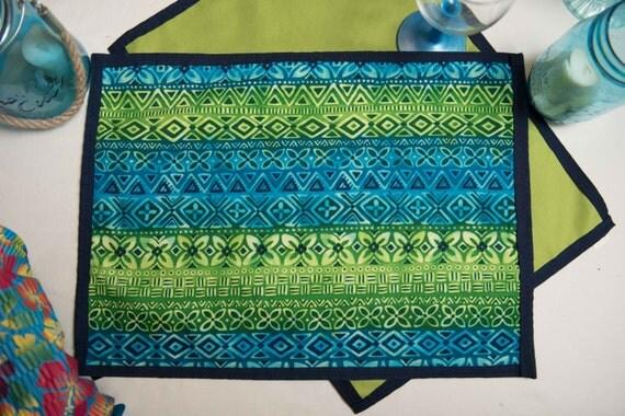 Indoor / Outdoor Handmade Tiki Stripe Placemat Set