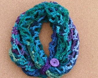 Purples & Greens Stretchy Mesh Infinity Scarf