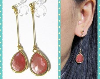 Cherry Quartz Rhinestone Clip on Dangle earring |7G|Comfortable gold bridal clip-on, Non Pierced Earrings, Dangle Wedding clip on earrings