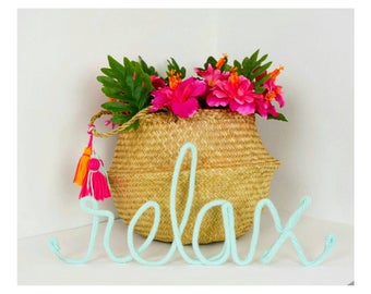Wire Words, Wire Word Art, Word Wall Art, Yarn Wire Words, Custom Wire Signs, Relax Wall Art, Tropical Decor, Relax Sign