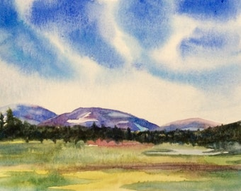 Yosemite, Tuolumne meadows, Tuolumne, mountain painting, mountains, national parks, California, Meadows, landscape watercolor, landscape