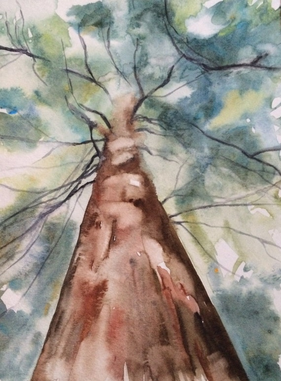 Watercolor trees, tree painting, tree watercolor, tree, tree trunk painting, landscape painting, landscape watercolor