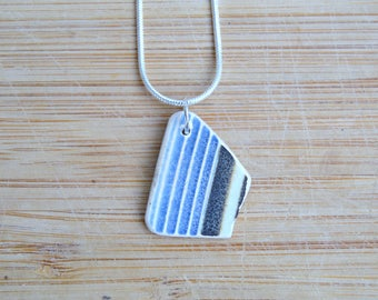 Beach Pottery Pendant, 9th Anniversary Gift, Seaside Jewellery, Upcycled Ceramic Necklace, Mother's Day, Sea Pottery, Gift for Her, Gift Box