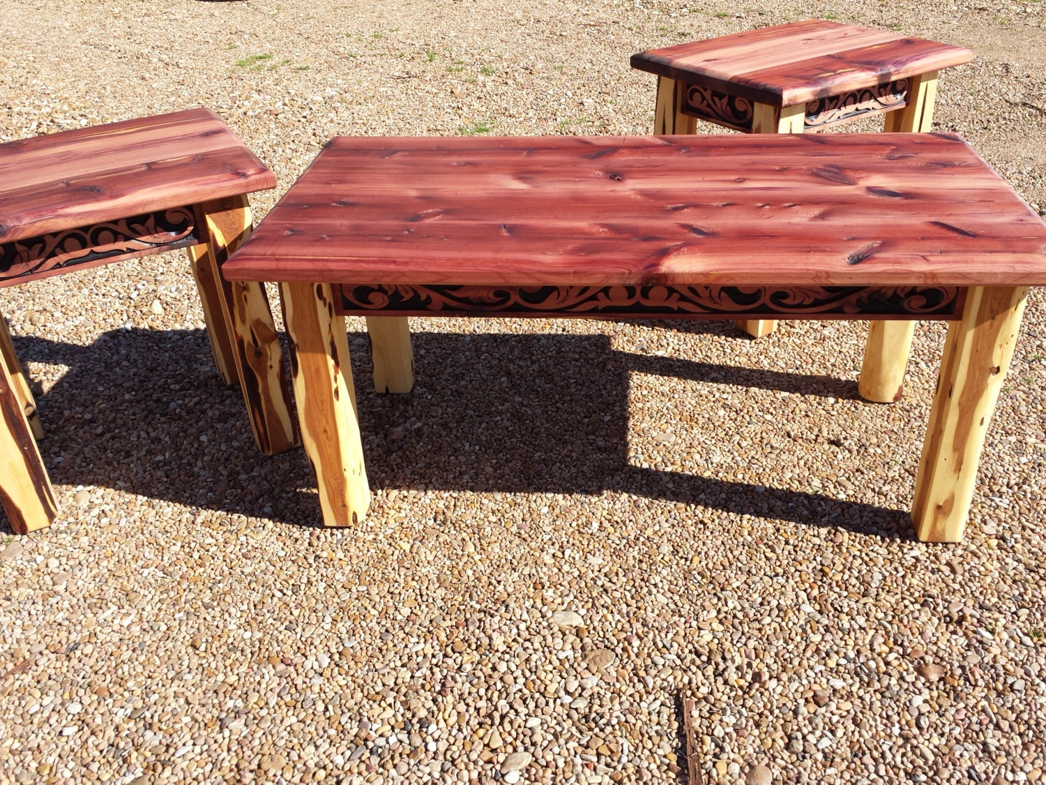 Aromatic Cedar Coffee And End Table Set With Western Belt