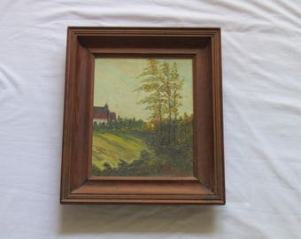 vintage framed painting on canvas singed, original painting, landscape painting, framed painting, Polish art,  wall hanging art. wall art