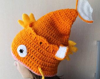 Magikarp Slouchy Hat, Magikarp Pokemon Crochet Hat, Magikarp Hat Crochet, Hat Pokemon,Pokemon Magikarp, Karpkarp crochet hat