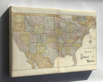 Canvas 24x36; Map Of The United States Of America  1885