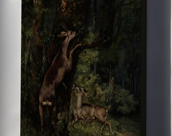 Canvas 24x36; Gustave Courbet Deer In The Forest
