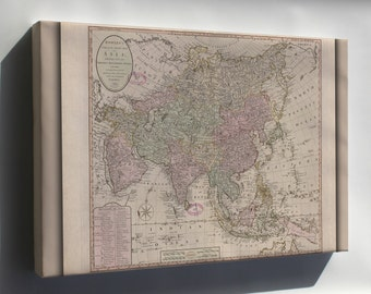 Canvas 24x36; Map Of Asia 1791; India Russia China Japan
