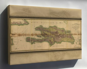 Canvas 24x36; Map Of Hispaniola 1805