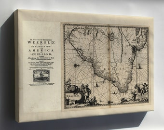 Canvas 24x36; Map Of Brazil 1671