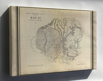 Canvas 24x36; Map Of Kauai, Hawaii, 1903
