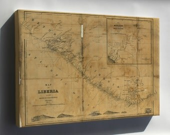 Canvas 24x36; Map Of Liberia 1870