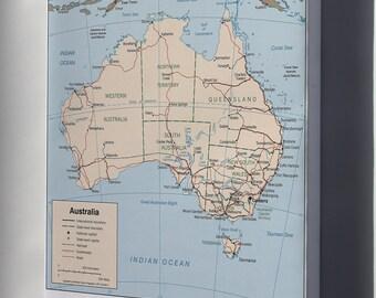 Canvas 24x36; Cia Map Of Australia 1999