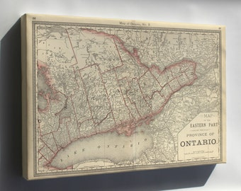 Canvas 16x24; Map Of Eastern Ontario 1881