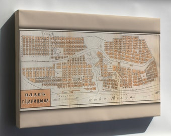 Canvas 16x24; Map Of Tsaritsyn, Russia In 1909 (Present Day Volgograd)