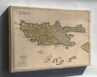 Canvas 16x24; Map Of Hispaniola Haiti Dominican Republic 1762