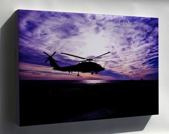 Canvas 16x24; Sh-60 Sea Hawk Helicopter At Sunset