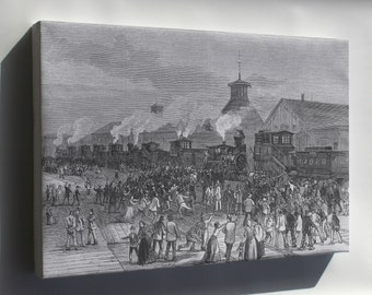 Canvas 16x24; Blockade Of Engines At Martinsburg, West Virginia Great Railroad Strike Of 1877 P1