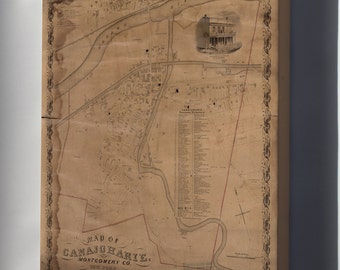 Canvas 16x24; Map Of Canajoharie, New York 1857
