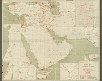 16x24 Poster; Map Of Airports Of The Middle East 1943 In German