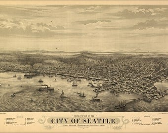 16x24 Poster; Birdseye View Map Of Seattle, Puget Sound, Washington Territory, 1878