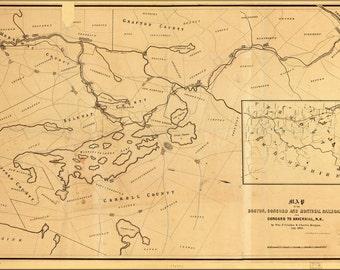 16x24 Poster; Map Of Boston Concord Railroad New Hampshire 1845