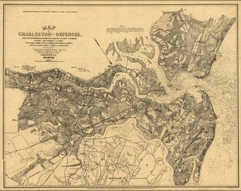 16x24 Poster; Map Of Charleston South Carolina & Defences 1863
