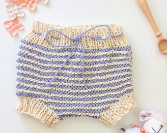 Baby bloomers, hand knitted, blue and beige stripes, 0-3 months, in a luxury gift box - FREE WORLDWIDE SHIPPING