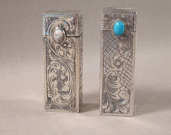 Italian 800 Silver Lipstick Case with Mirror Two Available