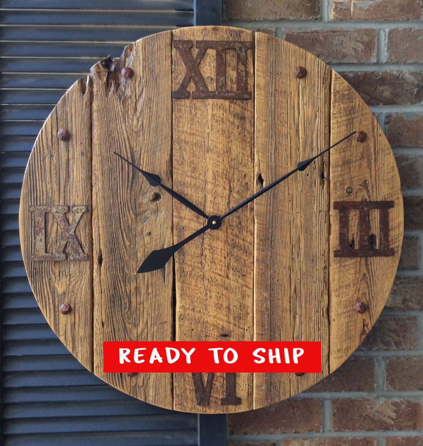 Large Wall Clock Rustic Wall Clock Unique Wall Clock Dad