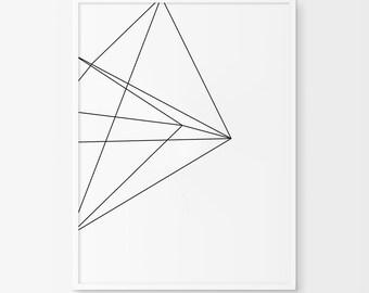 Geometric Print, Geometric Art, Black and White Diamond, Printable Art, Black and White Print, Minimalist Art, Printable Wall Art, Lines Art