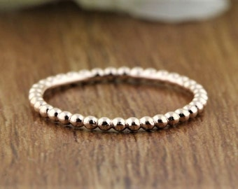 Slim Stacking Ring, Gold Ring, Stackable 14K Gold Bands, Solid Gold Beaded Band, 1.60 mm thickness, Dainty and Delicate