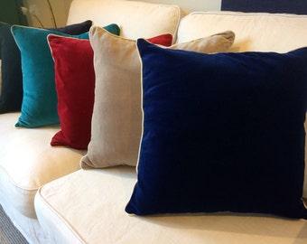 Velvet and linen cushion cover, velvet cushion, velvet pillow, throw cushion, throw pillow, navy cushion, teal cushion, red cushion 45x45