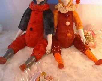 Teddy dollars clowns.Work in circus entertain children.