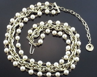Vintage Lisner Pearl Necklace Triple Strand Wedding Bridal Choker Bride Estate S