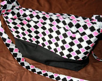 Black and Pink Lattice Purse