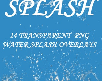 14 png water splash overlays for Photoshop and Photoshop Elements