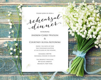 Rehearsal Dinner Invitation Template, DIY Printing, Custom Personalized Invitation, Wedding Rehearsal Invitation Template
