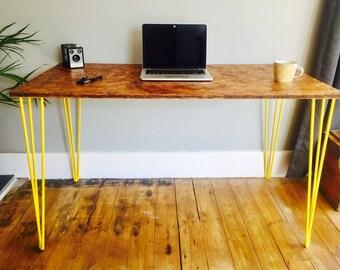 OSB desk with yellow steel hairpin legs