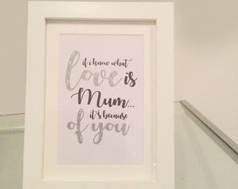 Framed Quote for Mum