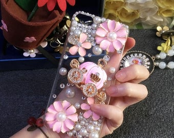New Lovely Girly Flowers Pink Pumpkin Bling Pearls Luxury Fashion Charms Crystals Rhinestones Diamonds Gems Hard Cover Case for Mobile Phone