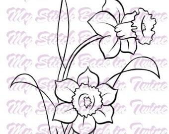 Digital stamp colouring image - Daffodiles . jpeg / png