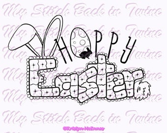 Digital stamp colouring image - Hoppy Easter 4 versions. png
