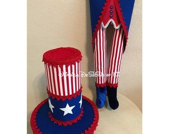 Patriotic Uncle Sam Red snd White Stripe Wreath Attachment Set